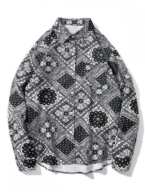 trendy Floral Geometric Bandana Print Button High Low Shirt - GRAY M