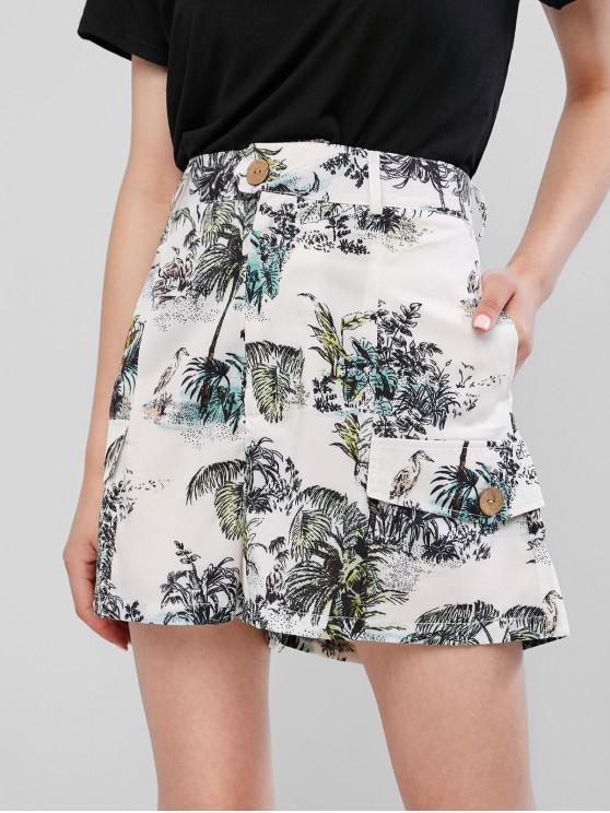 latest Faux Pockets Palm Tree Print Wide Leg Shorts - WHITE XS