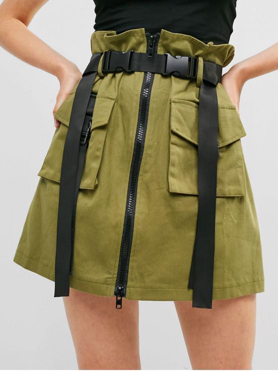 Falda de Carga con Cremallera Frontal y Hebilla - Verde L
