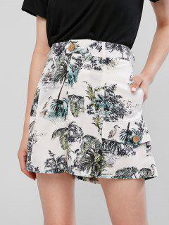 Faux Pockets Palm Tree Print Wide Leg Shorts - White Xs