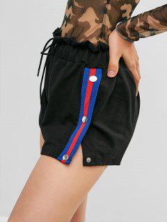 Snap Button Stripes Panel Paperbag Shorts - Black M