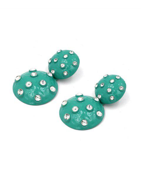 Boucles d'Oreilles Rondes Pendantes avec Strass - Vert  Mobile