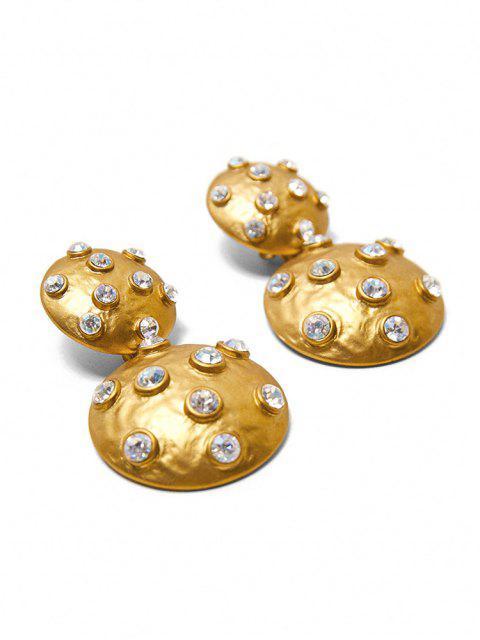 Boucles d'Oreilles Rondes Pendantes avec Strass - Or  Mobile