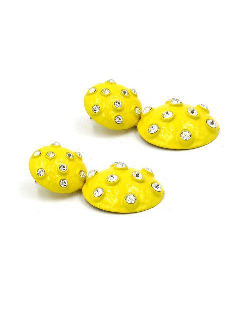 Boucles d'Oreilles Rondes Pendantes avec Strass - Jaune  Mobile