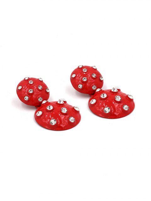 Boucles d'Oreilles Rondes Pendantes avec Strass - Rouge  Mobile