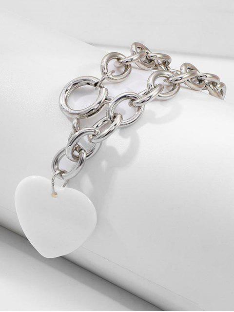 Bracelet Simpe à Chaîne Cœur en Acrylique - Argent  Mobile