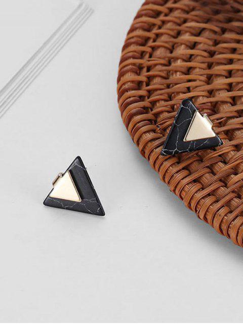 Boucles d'Oreilles Triangle Marbre Imprimé - Noir  Mobile