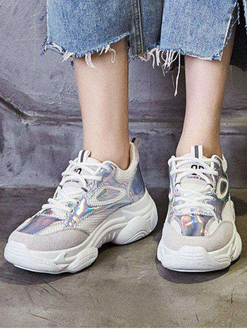 Chaussures de sport à plateforme respirante au laser - Blanc Chaud EU 39 Mobile