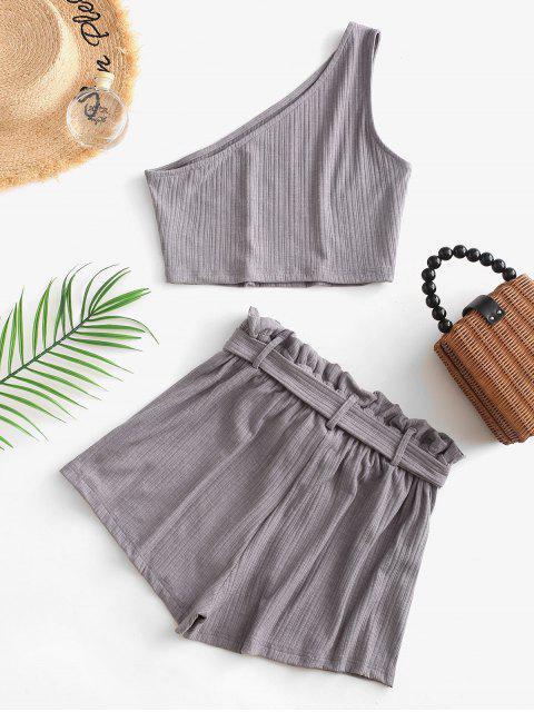 shop ZAFUL Ribbed One Shoulder Paperbag Shorts Set - GRAY L Mobile