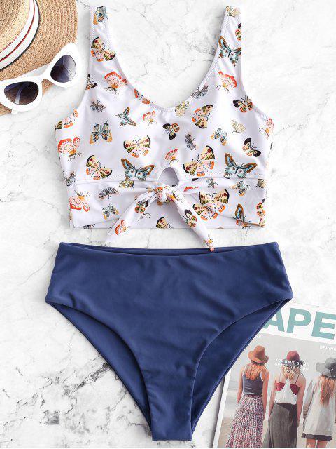 trendy ZAFUL Butterfly Print Knot Tankini Swimsuit - SILK BLUE M Mobile