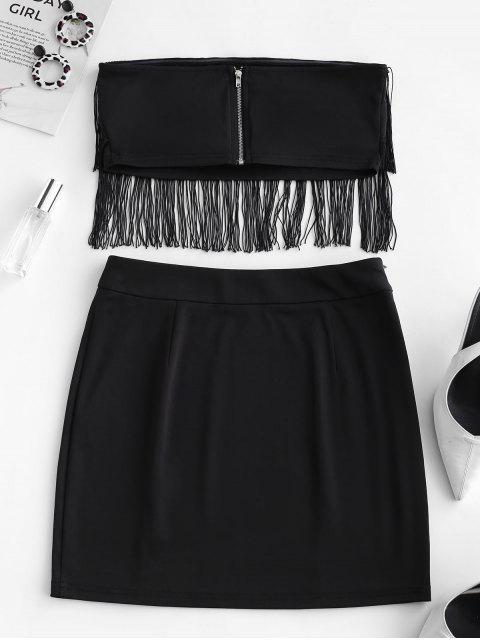 ZAFUL Costume deux pièces solide sans bretelles à franges - Noir M Mobile