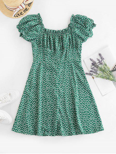 best Ditsy Print Button Down Milkmaid Dress - GREEN S Mobile