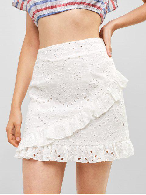 unique Ruffles Eyelet A Line Skirt - WHITE S Mobile
