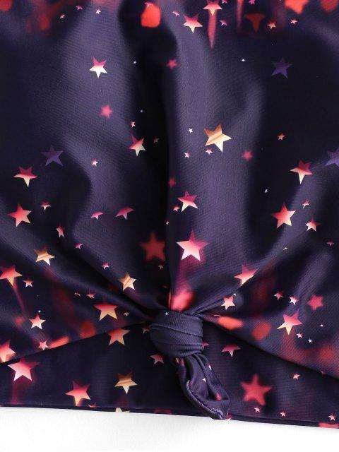 trendy ZAFUL Starry Print Knot High Leg Tankini Swimsuit - BLACK L Mobile