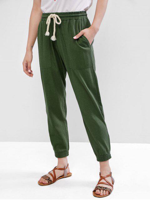 Pantalones basculador sólidos de cintura alta - Verde M Mobile