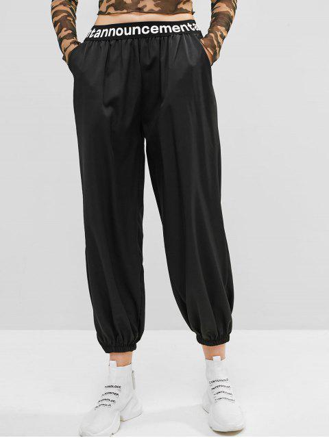 Pantalón jogger de talle alto con gráfico de eslogan - Negro Talla única Mobile