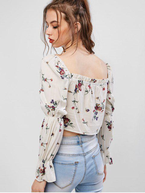 chic Ruffles Tiny Floral Crop Blouse - MULTI S Mobile