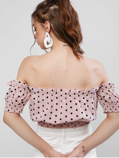affordable ZAFUL Cropped Polka Dot Off Shoulder Blouse - LIPSTICK PINK XL Mobile