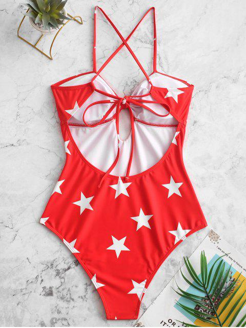 new ZAFUL Star Tied Keyhole One-piece Swimsuit - MULTI-A XL Mobile