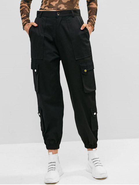 Bolsillos sólidos pantalones de color del basculador - Negro L Mobile