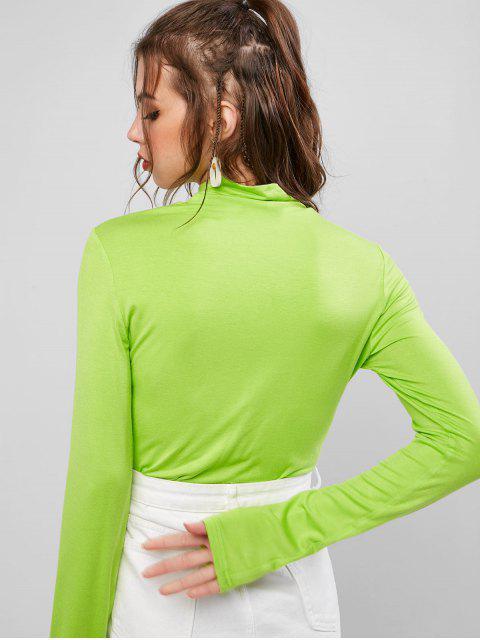 ZAFUL T-shirt Néon en Forme de Cœur Manches Longues à Col Haut - Vert Emeraude S Mobile