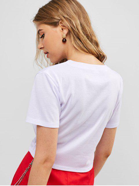 T-shirt Court Dragon Graphique à Manches Courtes - Blanc XL Mobile