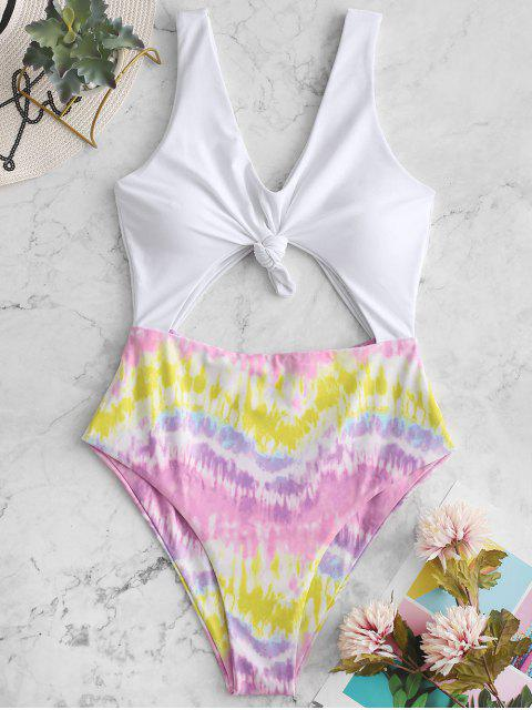 hot ZAFUL Colorful Tie Dye Knotted Monokini Swimsuit - MULTI-A L Mobile