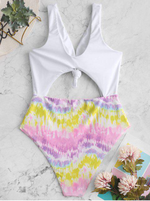 shop ZAFUL Colorful Tie Dye Knotted Monokini Swimsuit - MULTI-A M Mobile