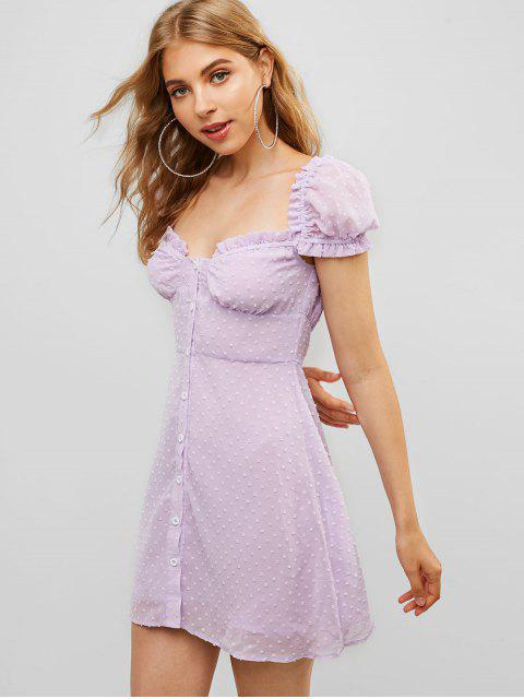fashion ZAFUL Button Up Ruffles Swiss Dot Mini Dress - MAUVE S Mobile