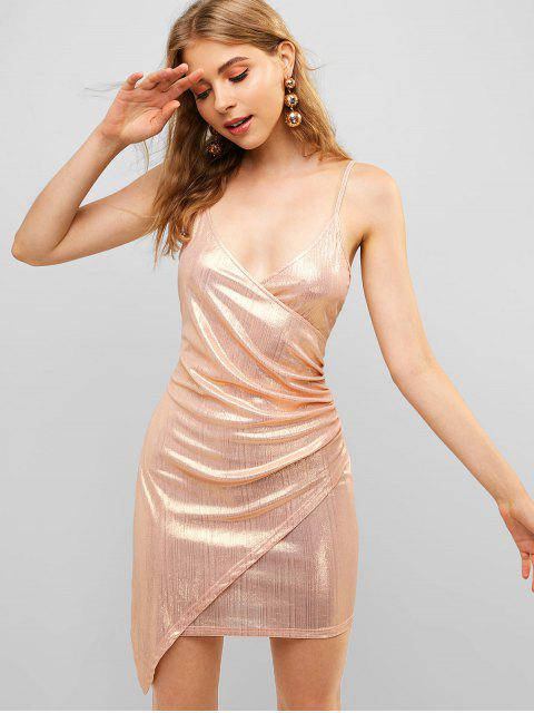 ZAFUL Overlap - Glänzendes Drapiertes Chasuble-Kleid - Roségold L Mobile