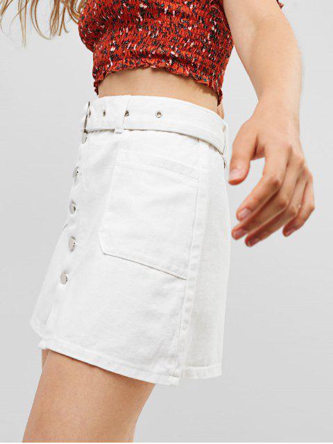latest Belted Button Fly Pocket Denim Skirt - WHITE L Mobile