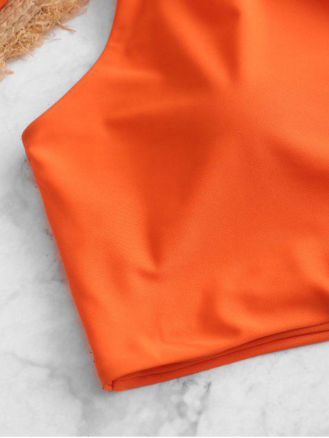 ZAFUL Maillot de Bain Tankini Noué à Une Epaule à Volants - Orange Mangue L Mobile