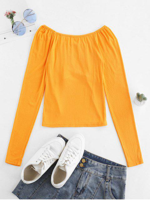 latest ZAFUL Ribbed Button Embellished Raglan Sleeve T-shirt - SAFFRON XL Mobile