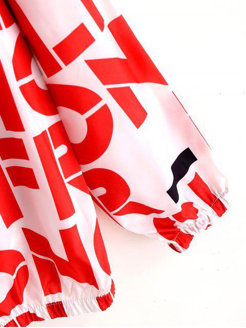Veste à Capuche Lettre Graphique Imprimée Léger Protection-Soleil - Rouge XS Mobile