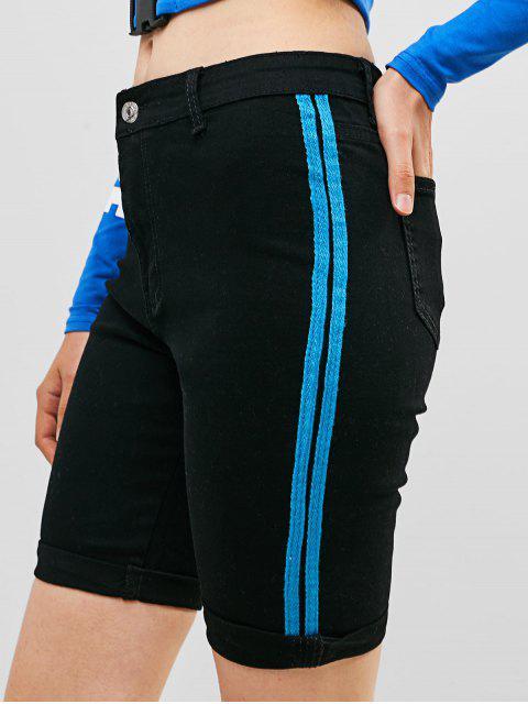 Pantalones cortos de bolsillo con paneles a rayas en el bajo del dobladillo - Negro M Mobile