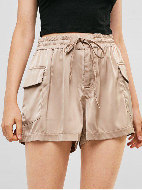 Bolsillos de cintura alta pantalones cortos de pierna ancha sólida - Camel Marrón M Mobile