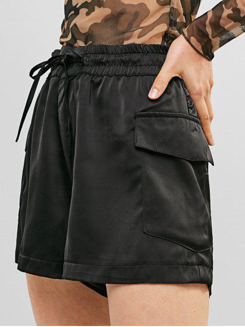 Bolsillos de cintura alta pantalones cortos de pierna ancha sólida - Negro XS Mobile