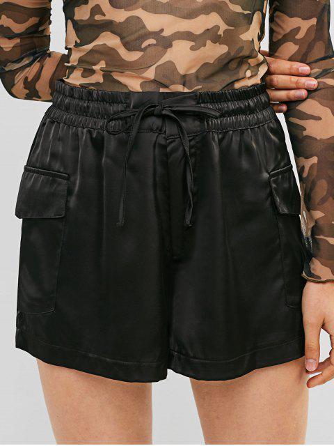 fancy High Waist Pockets Solid Wide Leg Shorts - BLACK S Mobile