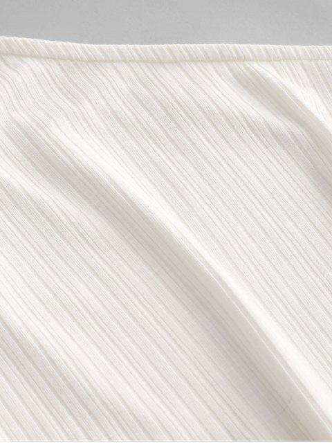 ZAFUL Ensemble de Short Paperbag Côtelé à Une Epaule - Blanc L Mobile