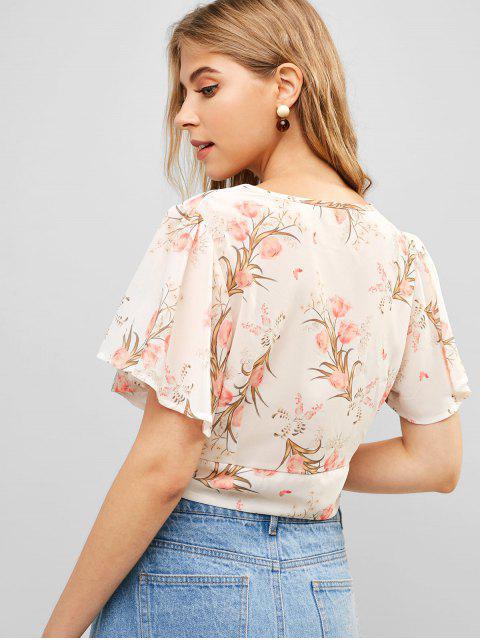 women Flutter Sleeve Floral Cropped Blouse - BEIGE XL Mobile