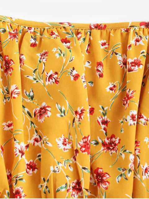 Vestido ahumado con manga acampanada con hombros descubiertos y estampado floral de ZAFUL Ditsy - Marrón Dorado M Mobile