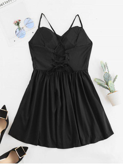new Open Back Padded Lace Up Cami Dress - BLACK L Mobile