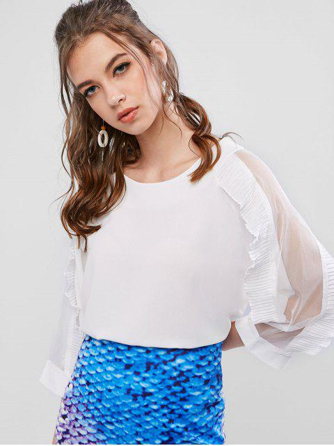 best Mesh Panel Pleated Ruffled See Thru Blouse - WHITE L Mobile
