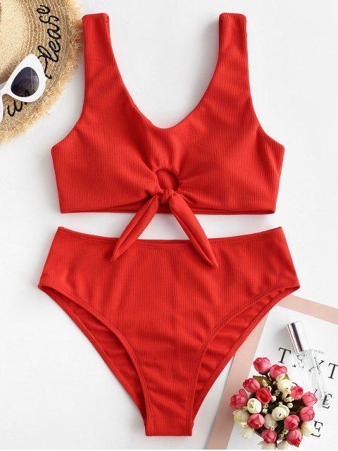 latest ZAFUL Keyhole Knot Ribbed Bikini Swimsuit - RED M Mobile