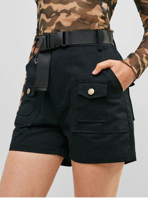 sale Pockets Belted Solid Shorts - BLACK L Mobile