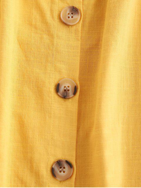 Mini Robe Boutonnée à Epaule Dénudée - Jaune XL Mobile
