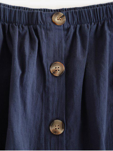 Mini Robe Boutonnée à Epaule Dénudée - Ardoise bleue foncée S Mobile