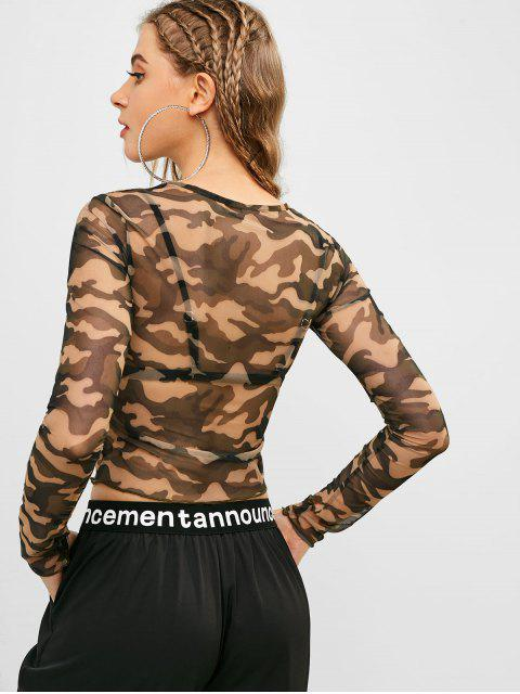 best Long Sleeve Camouflage Sheer Mesh Top - CAMOUFLAGE GREEN M Mobile