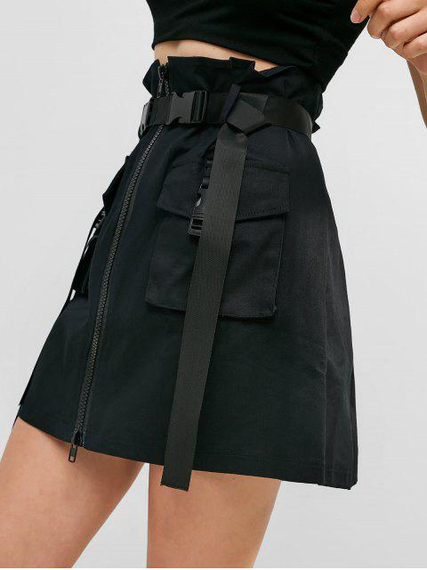 lady Zip Front Buckled Belted Cargo Skirt - BLACK S Mobile