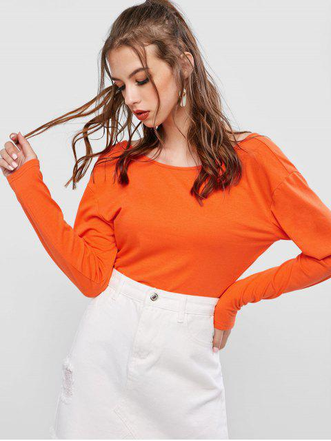 ZAFUL T-shirt Court Tordu en Forme V - Orange S Mobile